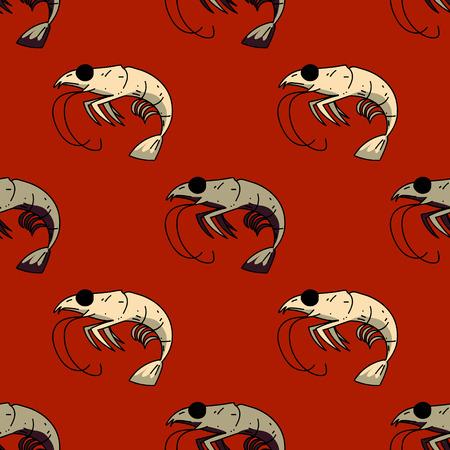 Shrimp seamless pattern.