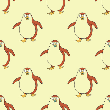 Penguin walking seamless pattern. Original design for print or digital media.  イラスト・ベクター素材