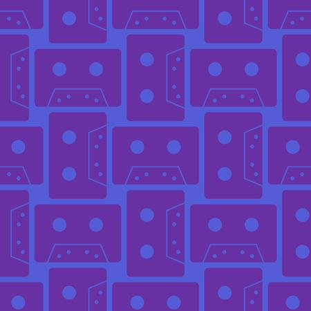 Cassette colour seamless pattern. Authentic design for digital and print media. Ilustração