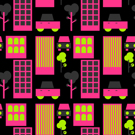 Neighborhood streets seamless pattern. Suitable for screen, print and other media.