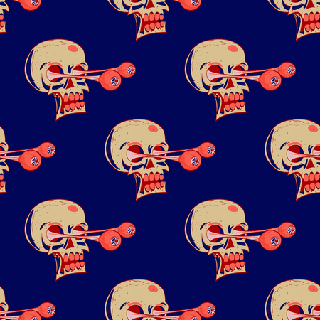 Skulls seamless pattern. Cartoon style pattern design. Illustration