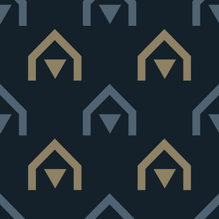 Native village seamless pattern. Strict line geometric pattern for your design.