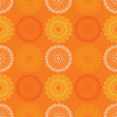 Fire work flowers symmetry seamless pattern. Suitable for screen, print and other media. Illustration