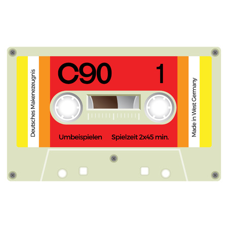 Vintage audio cassette tape, realistically looking design.
