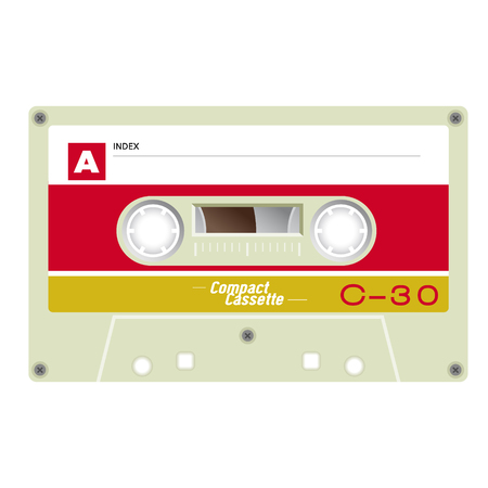 Old school compact cassette tape, 80s design. Vector illustration.