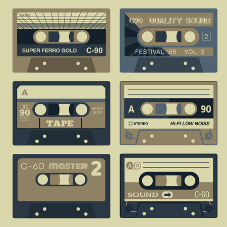 Retro audio cassettes set. Vintage set of old school technology. Illustration