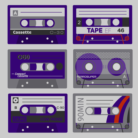 Retro cassettes set. Old technology records, plastic cassettes Illustration