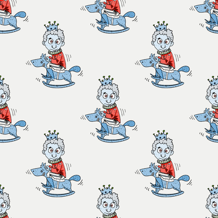 Foolish prince seamless pattern. Original design for print or digital media.