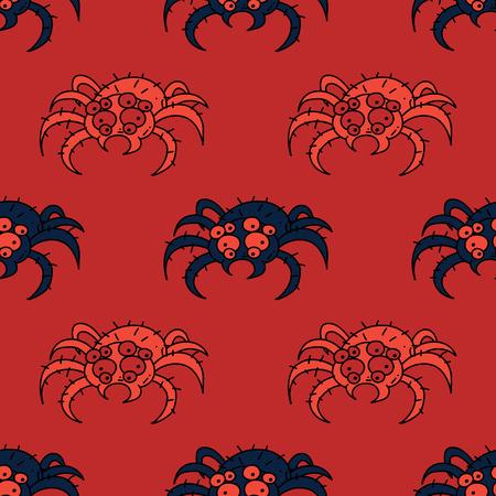 Spooky spider seamless pattern. Original design for print or digital media.