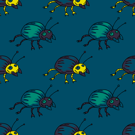 Funky bug seamless pattern. Original design for print or digital media. Ilustração