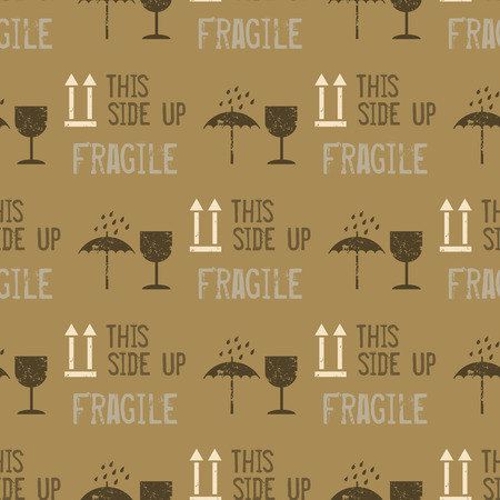 Industrial packaging seamless pattern, fragile with glass