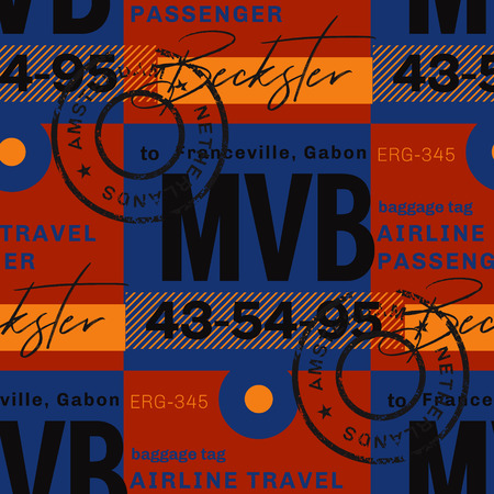 Franceville airport tag seamless pattern. Original design for print or digital media.