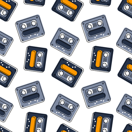 Funky tape mix seamless pattern. Authentic design for digital and print media. Çizim