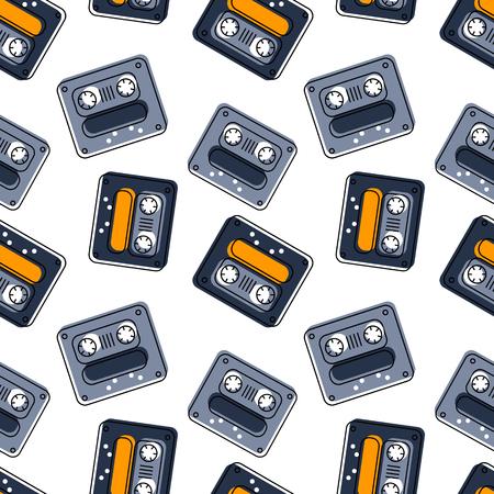 Funky tape mix seamless pattern. Authentic design for digital and print media. Ilustração
