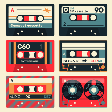Old school audio cassettes set. Vintage technology illustration.