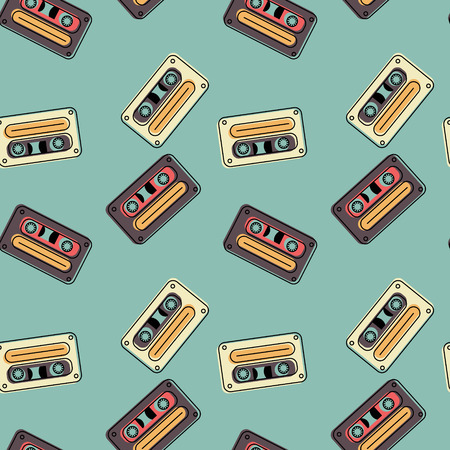 Cassette tapes floating seamless pattern. Authentic design for digital and print media. Çizim