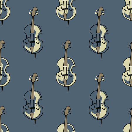 Violin seamless pattern. Original design for print or digital media. Çizim