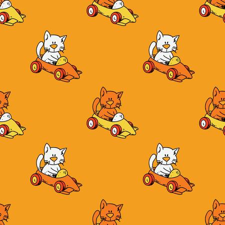 Cat driving race car seamless pattern. Original design for print or digital media.