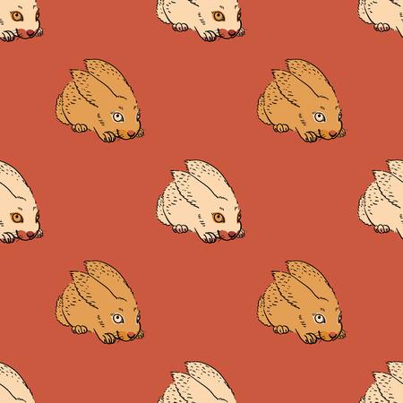Quirky rabbit seamless pattern. Original design for print or digital media. Stock Illustratie