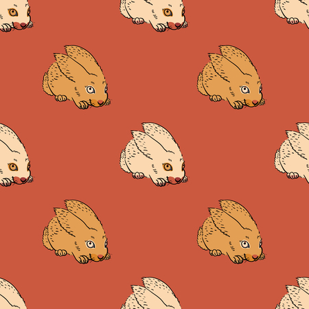 Quirky rabbit seamless pattern. Original design for print or digital media. Illustration