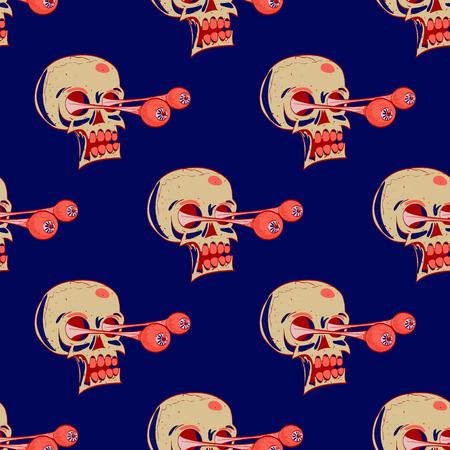 Skulls seamless pattern. Cartoon style pattern design. Illustration