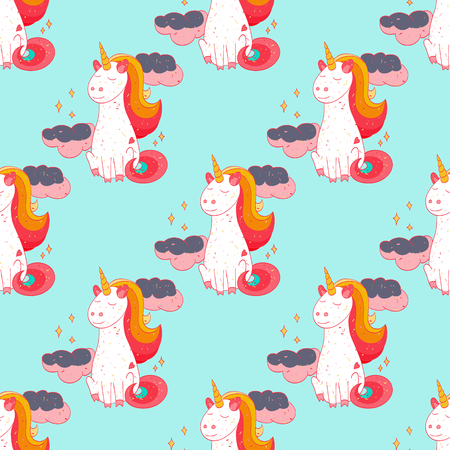Fairytale unicorn seamless pattern. Cartoon style pattern design.
