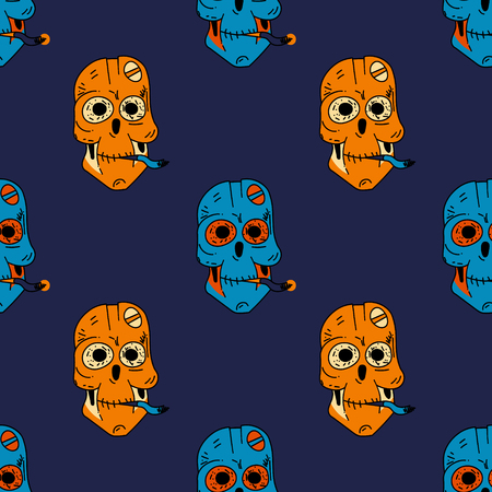 Smoking robot skull seamless pattern. Original design for print or digital media. 일러스트
