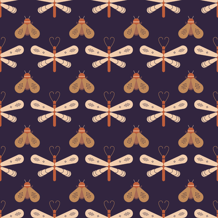 A Butterfly and dragonfly seamless pattern. Horizontal orderly design for background. Illusztráció