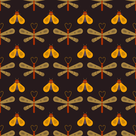 A Butterfly and dragonfly seamless pattern. Horizontal orderly design for background. Иллюстрация
