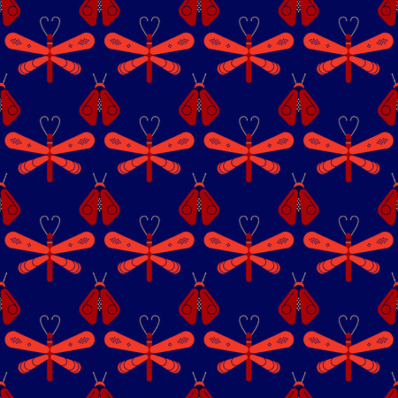 A firefly and dragonfly seamless pattern. Horizontal orderly design for background. Ilustrace