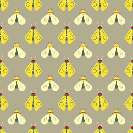 Bee and firefly seamless pattern. Horizontal orderly design for background. Illustration