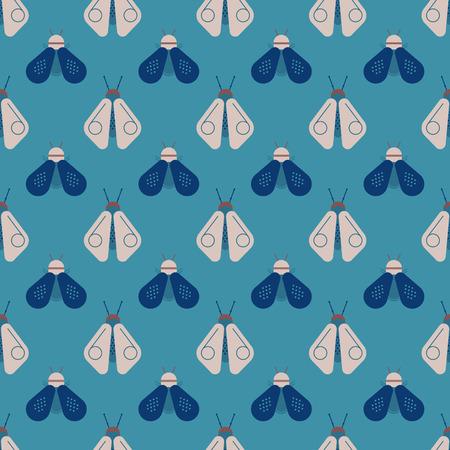 Bee and firefly seamless pattern. Horizontal orderly design for background. Illusztráció