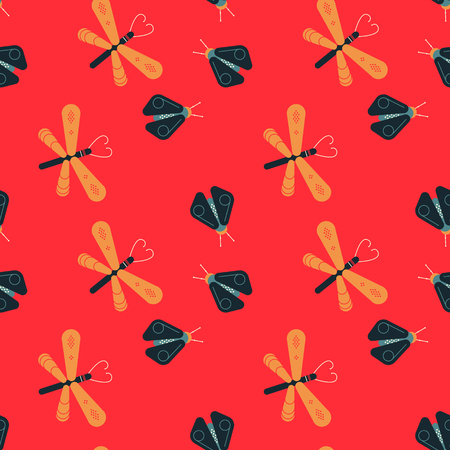 Dragonfly and firefly seamless pattern. Geometric modern natural background.