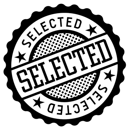 Selected black and white badge. Typographic label series. Stock Illustratie