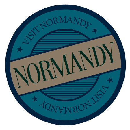 Normandy geographic stamp. City or country label, sign