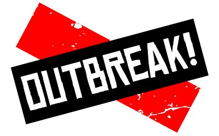 Outbreak attention sign. Caution red and black series. Vector illustration.