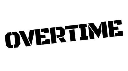 Overuren zwarte typografische stempel. Rechte rand serie. Vector illustratie