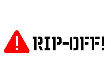 Rip off attention sign, label. Black and red series Vector illustration.