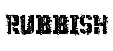Sello tipográfico de basura, signo, etiqueta Negro angustiado serie ilustración vectorial. Foto de archivo - 99489907