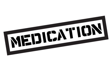 Medication typographic stamp. Black and red stamp series. Illustration