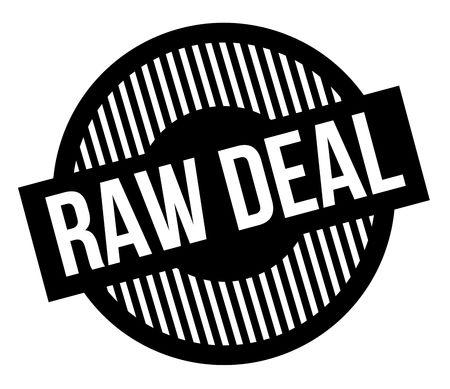 Raw deal typographic stamp. Black circular stamp series.