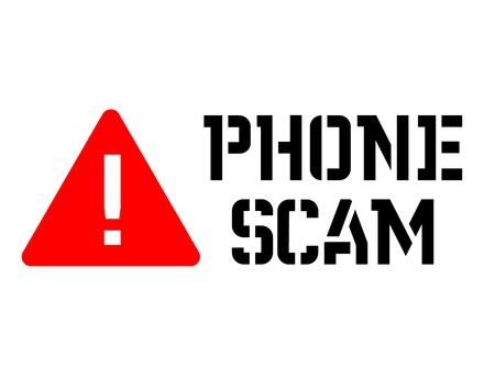 Phone scam attention sign, sign, label. Black and red series Illusztráció