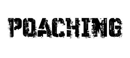 Poaching typographic stamp, sign, label Black distressed series