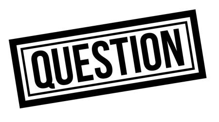 Question typographic stamp, sign, label. Black rubber stamp series