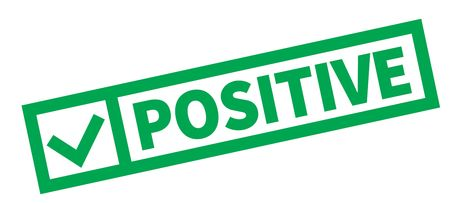 Positive typographic stamp, sign, label Green check series