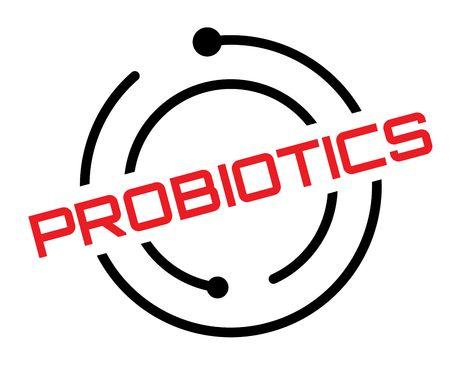Probiotics typographic label, sign. Clean modern series Illustration