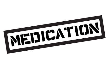Medication typographic stamp. Black and red stamp series. Stock Illustratie
