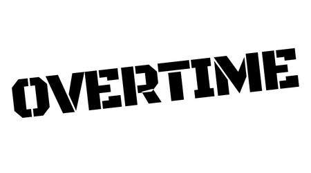 Overtime black typographic stamp. Straight edge series.