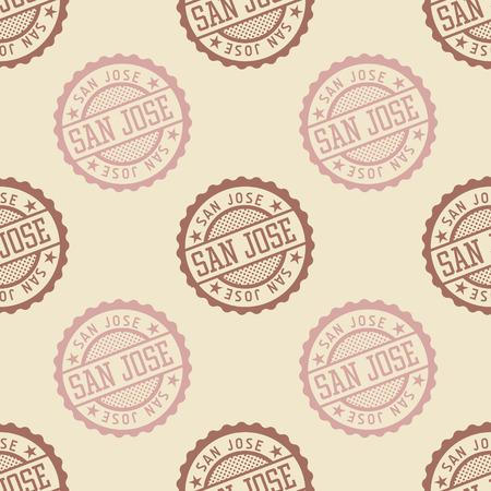 San Jose seamless pattern, badge pattern, backdrop for your design.