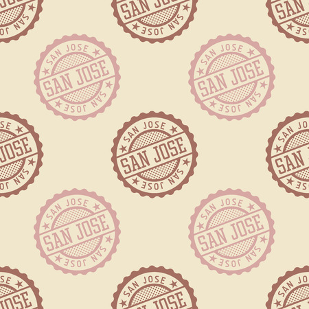 San Jose seamless pattern, badge pattern, backdrop for your design.